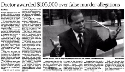 Doctor Awarded $105,000 over False Murder Allegations, The Age, November 2004